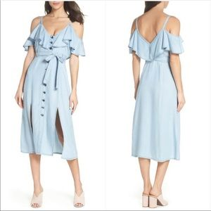 BB Dakota Catie Chambray Cold Shoulder Dress Sz L